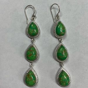 Green Copper Turquoise 3 Drop Earrings Handmade